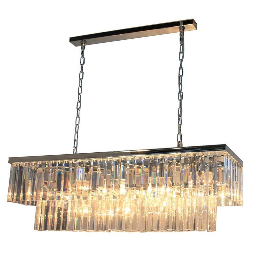ARTCRAFT El Dorado 13-Light Chrome Island Light Classic and timeless the El Dorado collection of crystal chandeliers is rich inside and out. Available in Java Brown or Chrome plated finishes.