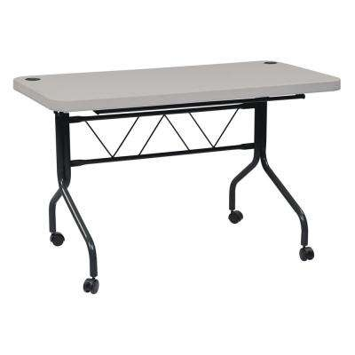 4 ft. Multi-Purpose Gray Resin Flip Table with Locking Casters