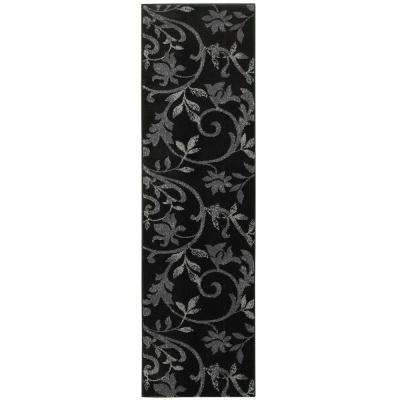 Grace Black 2 ft. x 7 ft. Plush Indoor Runner Rug