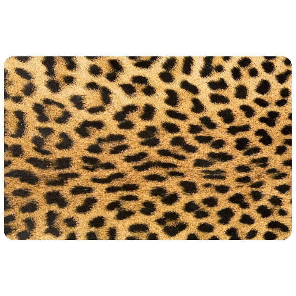 Bungalow Flooring Multi Color 18 in. x 27 in. Neoprene Leopard Door Mat