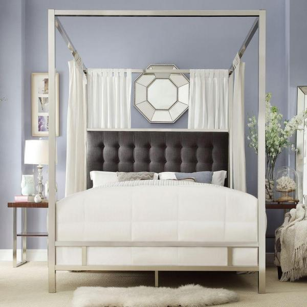 Canopy Bed.Taraval Chrome Queen Canopy Bed
