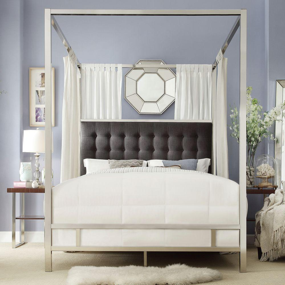HomeSullivan Taraval Chrome King Canopy Bed & HomeSullivan Taraval Chrome King Canopy Bed-40E739BK-1DGLCPY - The ...