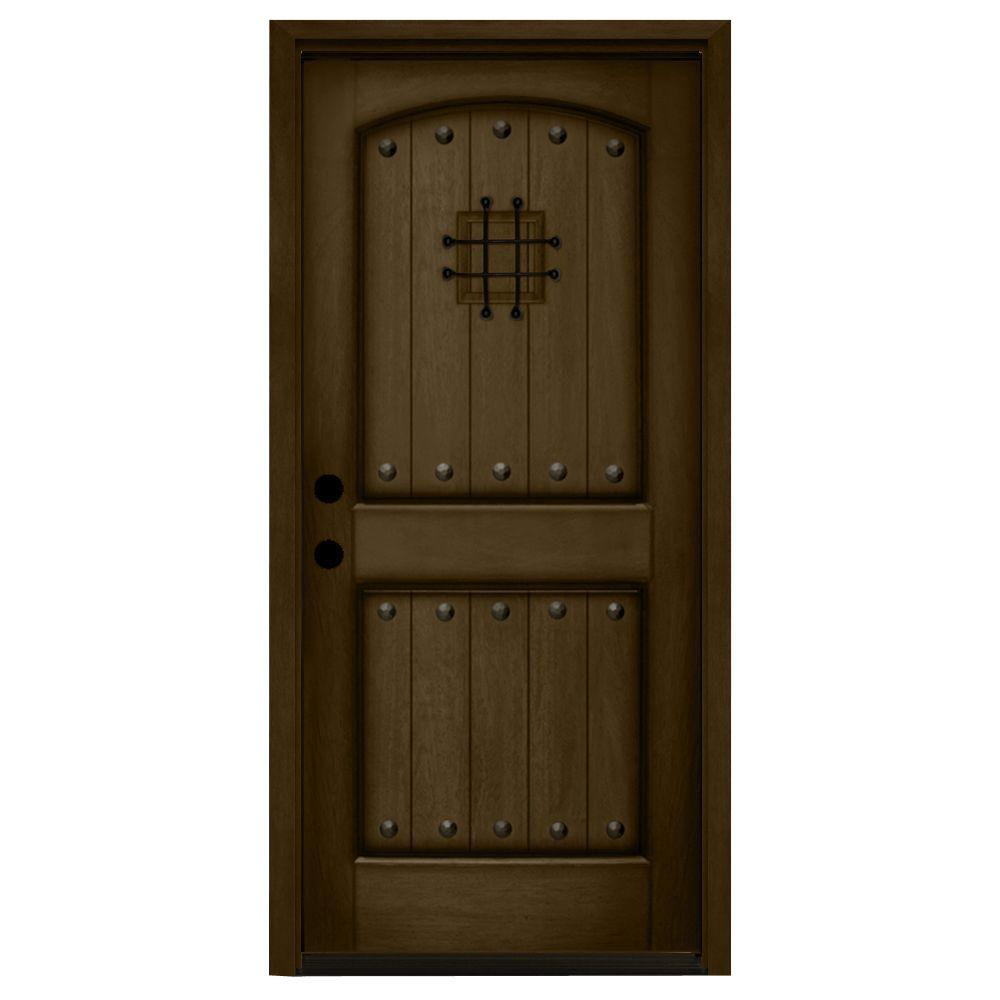 32 in. x 80 in. Rustic 2-Panel Speakeasy Stained Mahogany Wood