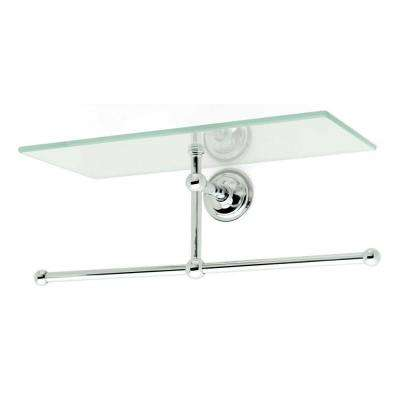 London Terrace 12 in. L x 5 in. H x 5 in. Shelf with Towel Bar in Polished Chrome