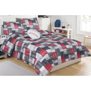 Brandon Plaid Multi-Colored Full Microfiber Mini Comforter Set with Decorative Pillow by