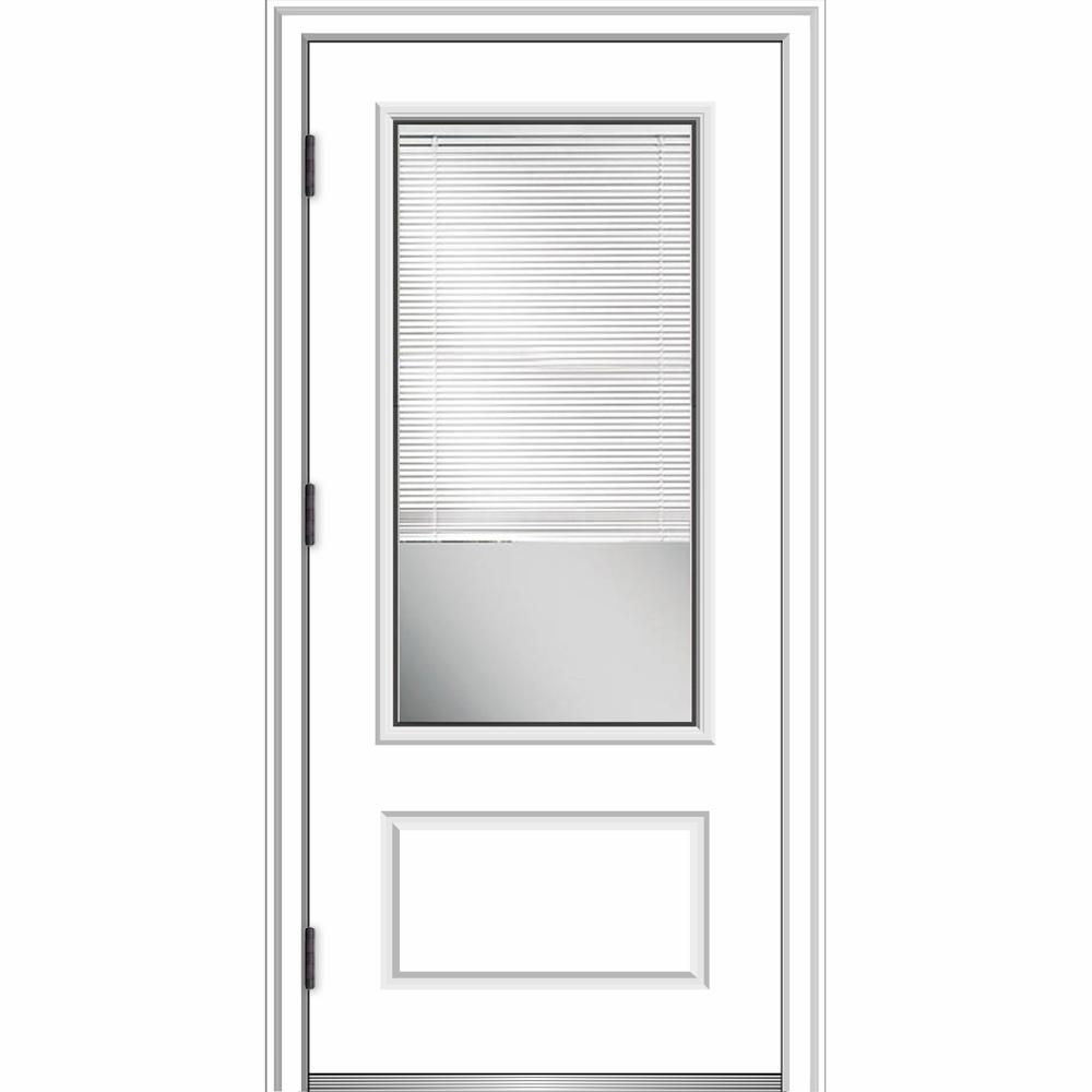 MMI Door 36 in. x 80 in. Internal Blinds Right-Hand Outswing 3/4-Lite Clear Primed Fiberglass Smooth Prehung Front Door