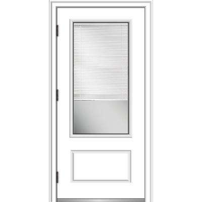 36 in. x 80 in. Internal Blinds Right-Hand Outswing 3/4-Lite Clear Primed Fiberglass Smooth Prehung Front Door
