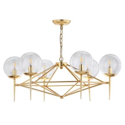 Greyor 6-Light Gold Chandelier with Clear Shade