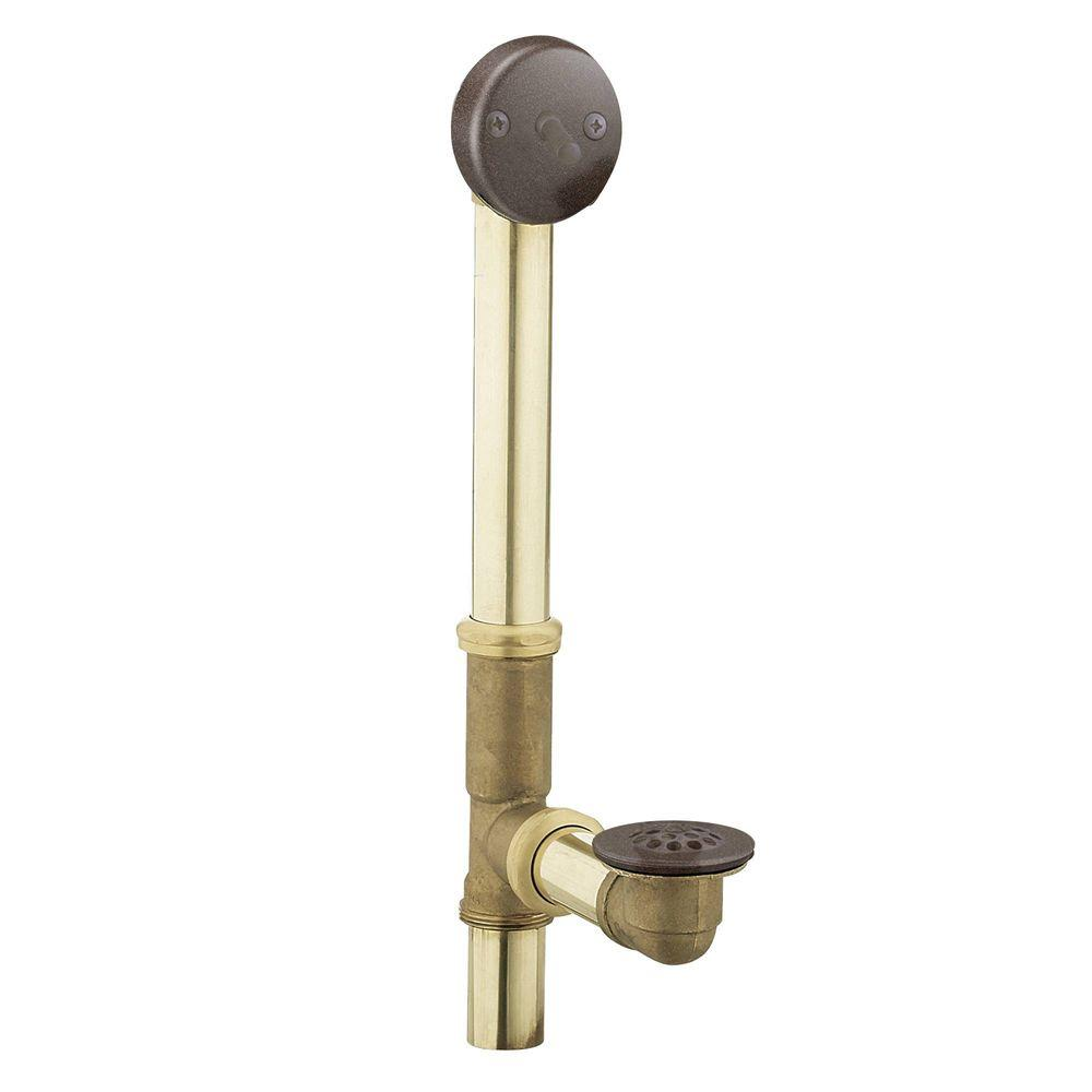 MOEN Brass Trip Lever Tub Drain Assembly In Oil Rubbed Bronze