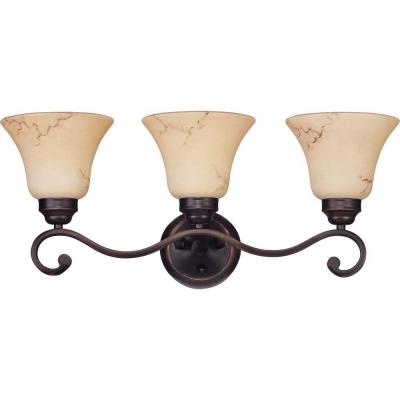 Vala 3-Light Copper Espresso Bath Vanity Light with Honey Marble Glass