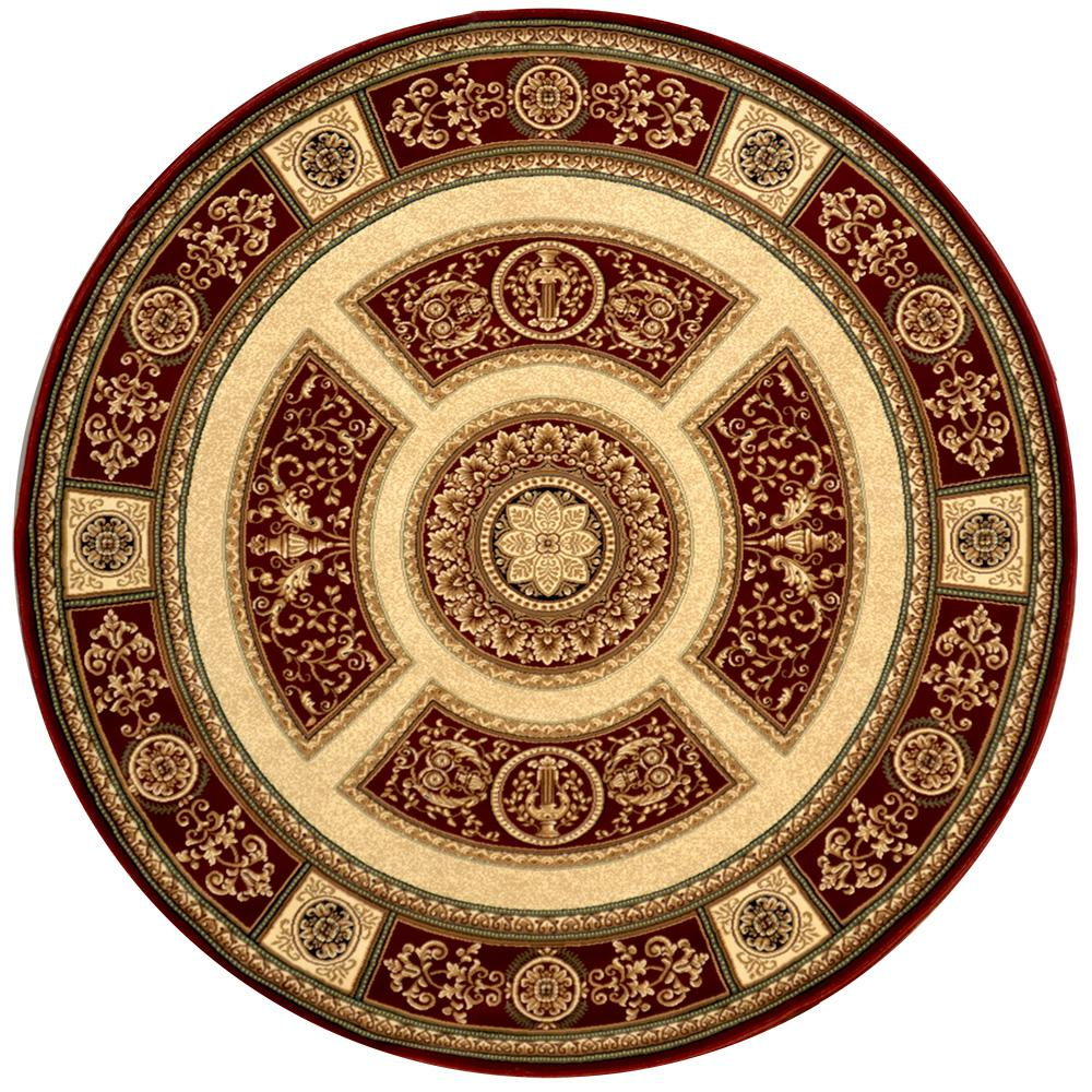 Home Dynamix Empire Red 7 ft. 10 in. Indoor Round Area Rug