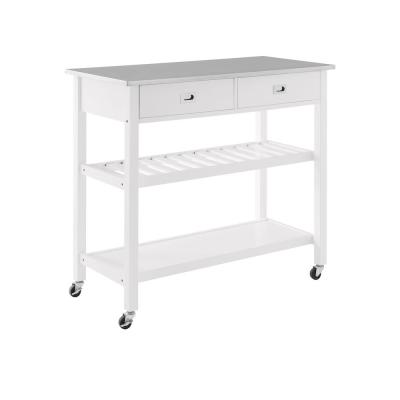 Chloe White Kitchen Island with Stainless Steel Top