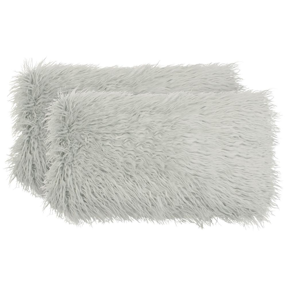 Mongolian Faux Fur Light Grey Decorative Lumbar Pillow Set (2-Piece)