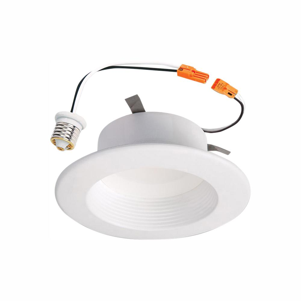 White Integrated Led Recessed Ceiling Light Fixture Retrofit Baffle Trim With