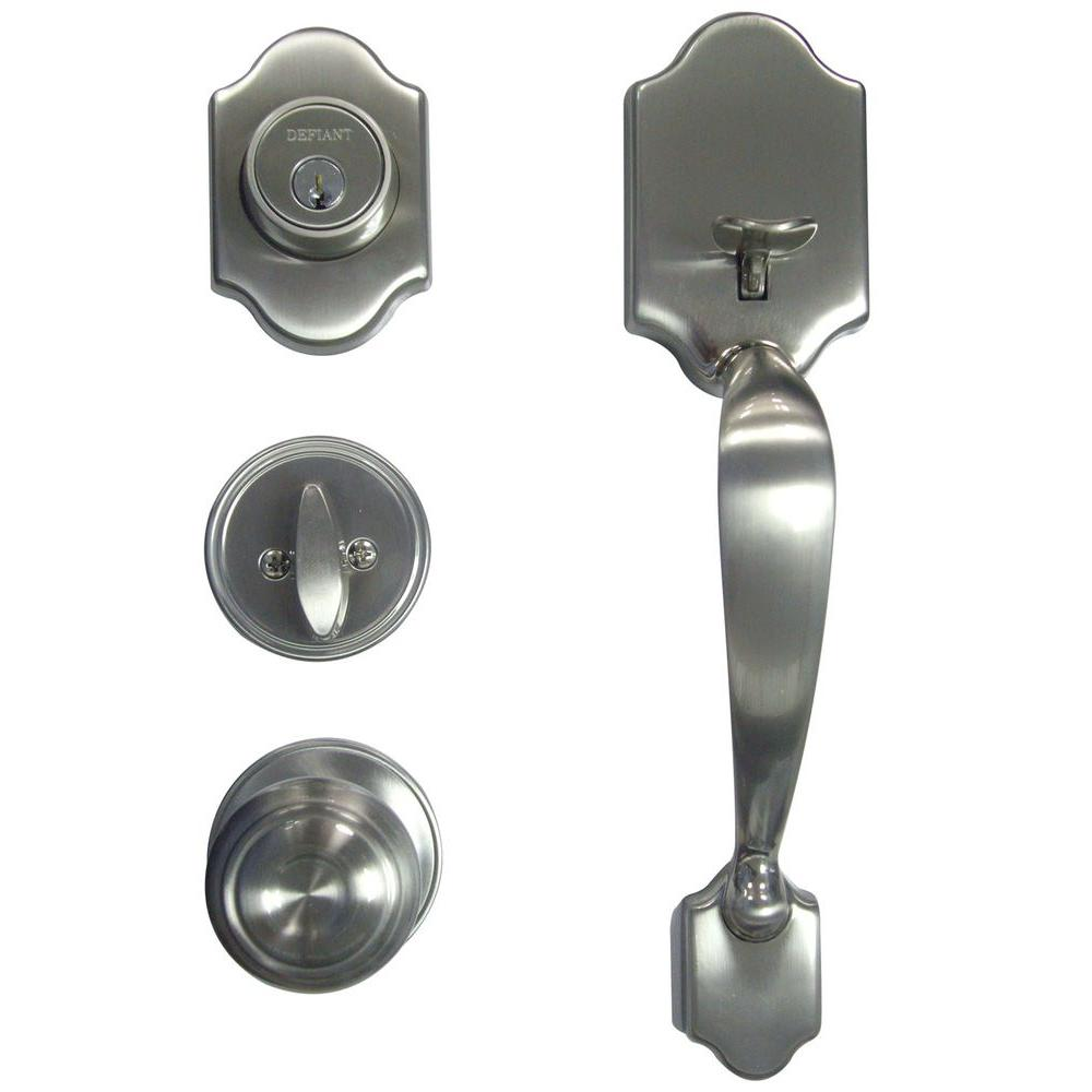 Defiant Springfield Single Cylinder Satin Nickel Door Handleset With Mushroom Knob Hcx2g1brf4bgs