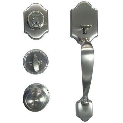 Springfield Single Cylinder Satin Nickel Door Handleset with Mushroom Knob