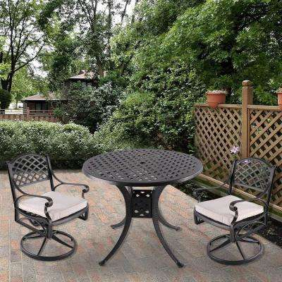 3-Piece Aluminum Outdoor Dining Set with Creamy White Cushion