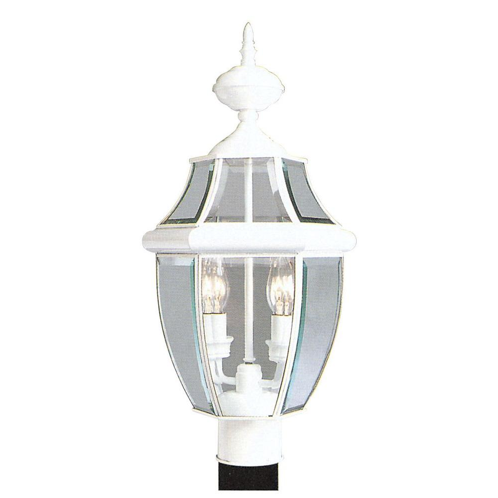 2-Light Outdoor White Post Head with Clear Beveled Glass