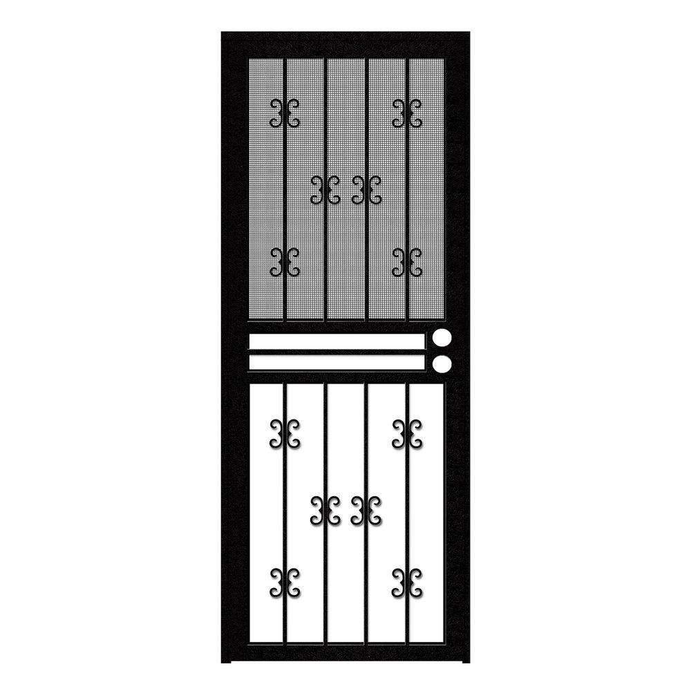 Unique Home Designs 30 in. x 80 in. Moorish Lace Black Recessed Mount All Season Security Door with Insect Screen and Glass Inserts
