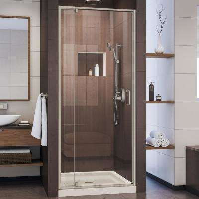 Flex 32 in. x 32 in. x 74.75 in. Framed Pivot Shower Door in Brushed Nickel with Shower Base