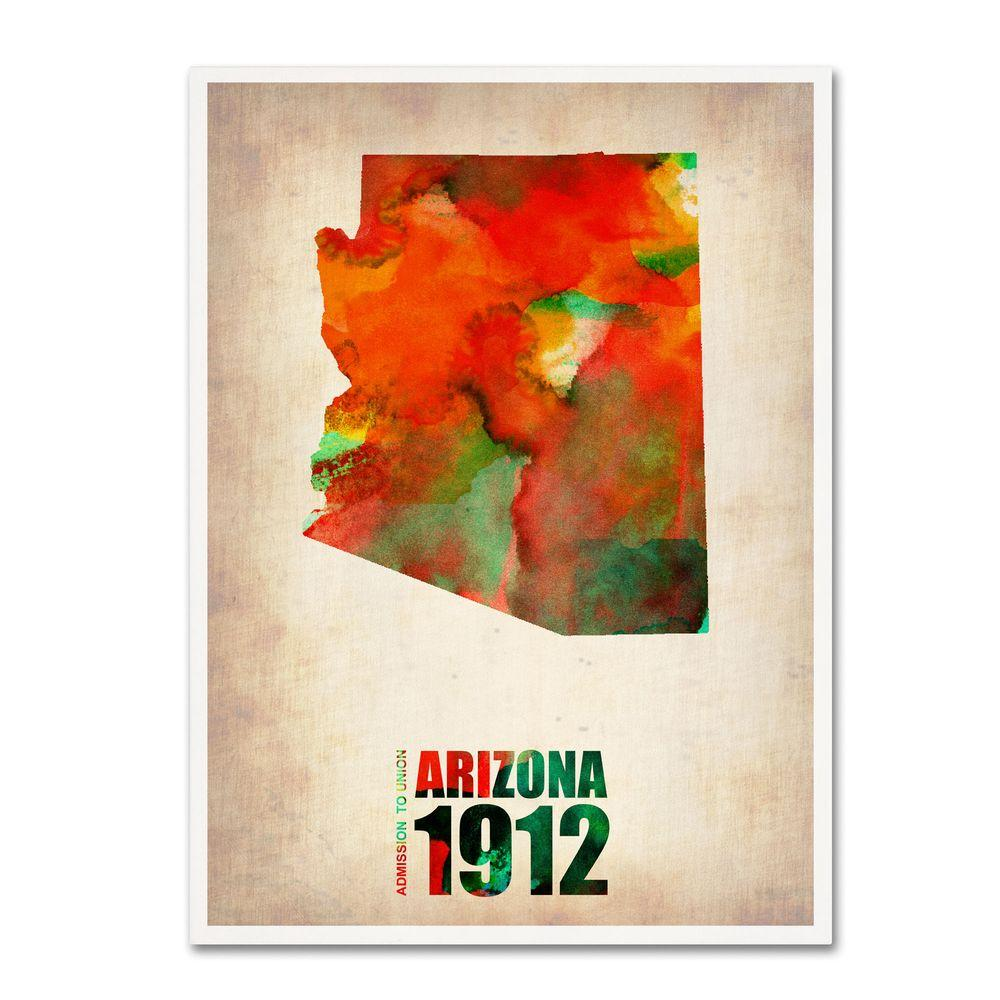 24 in. x 18 in. Arizona Watercolor Map Canvas Art