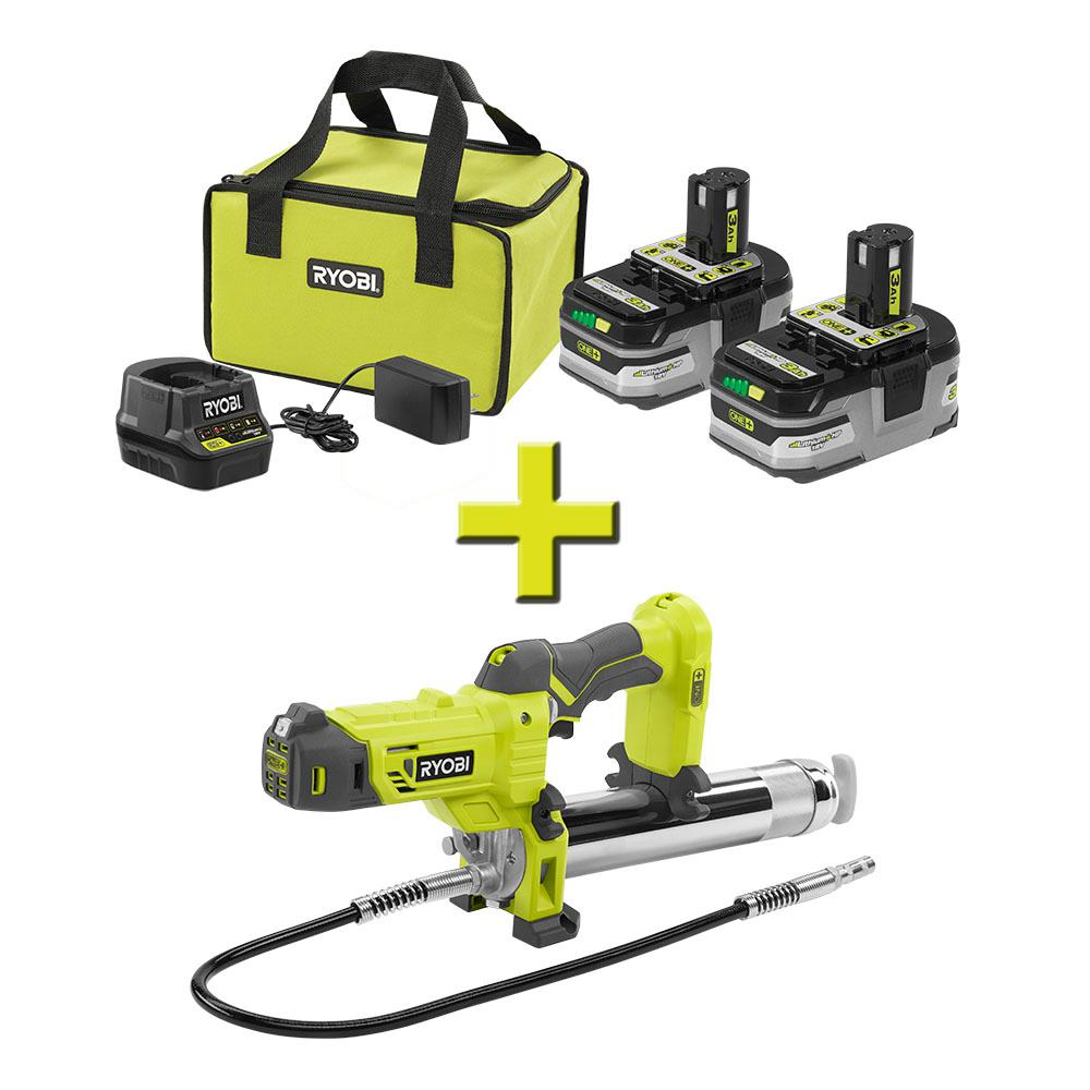RYOBI 18-Volt ONE+ LITHIUM+ HP 3.0 Ah Battery (2-Pack) Starter Kit with Charger and Bag with Bonus ONE+ Grease Gun
