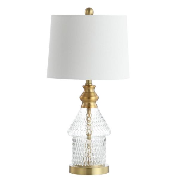 Camden 24.5 in. Brass Gold/Clear Textured Table Lamp with White Shade