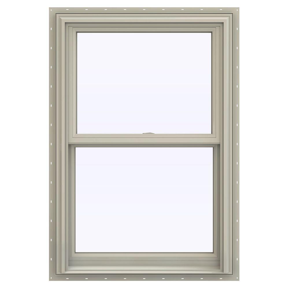 JELD-WEN 27.5 in. x 40.5 in. V-2500 Series Double Hung Vinyl Window - Tan