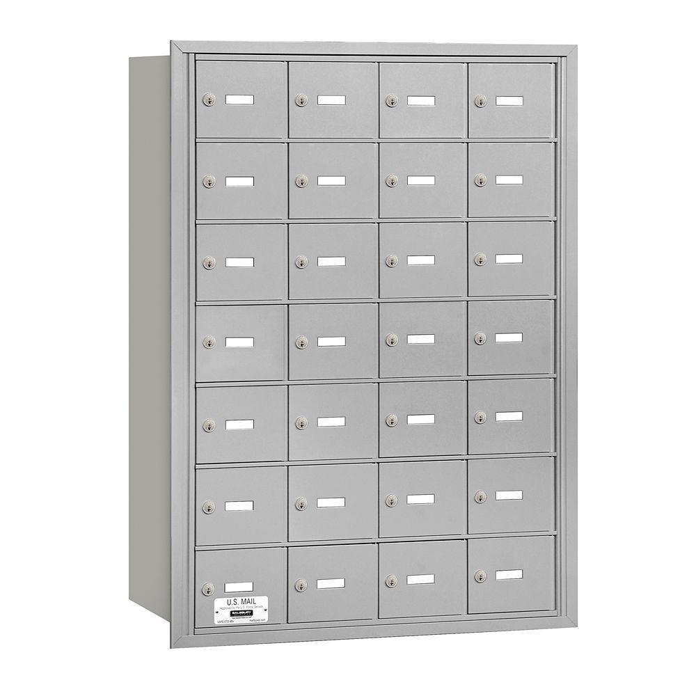 Salsbury Industries Aluminum USPS Access Rear Loading 4B Plus Horizontal Mailbox with 28A Doors