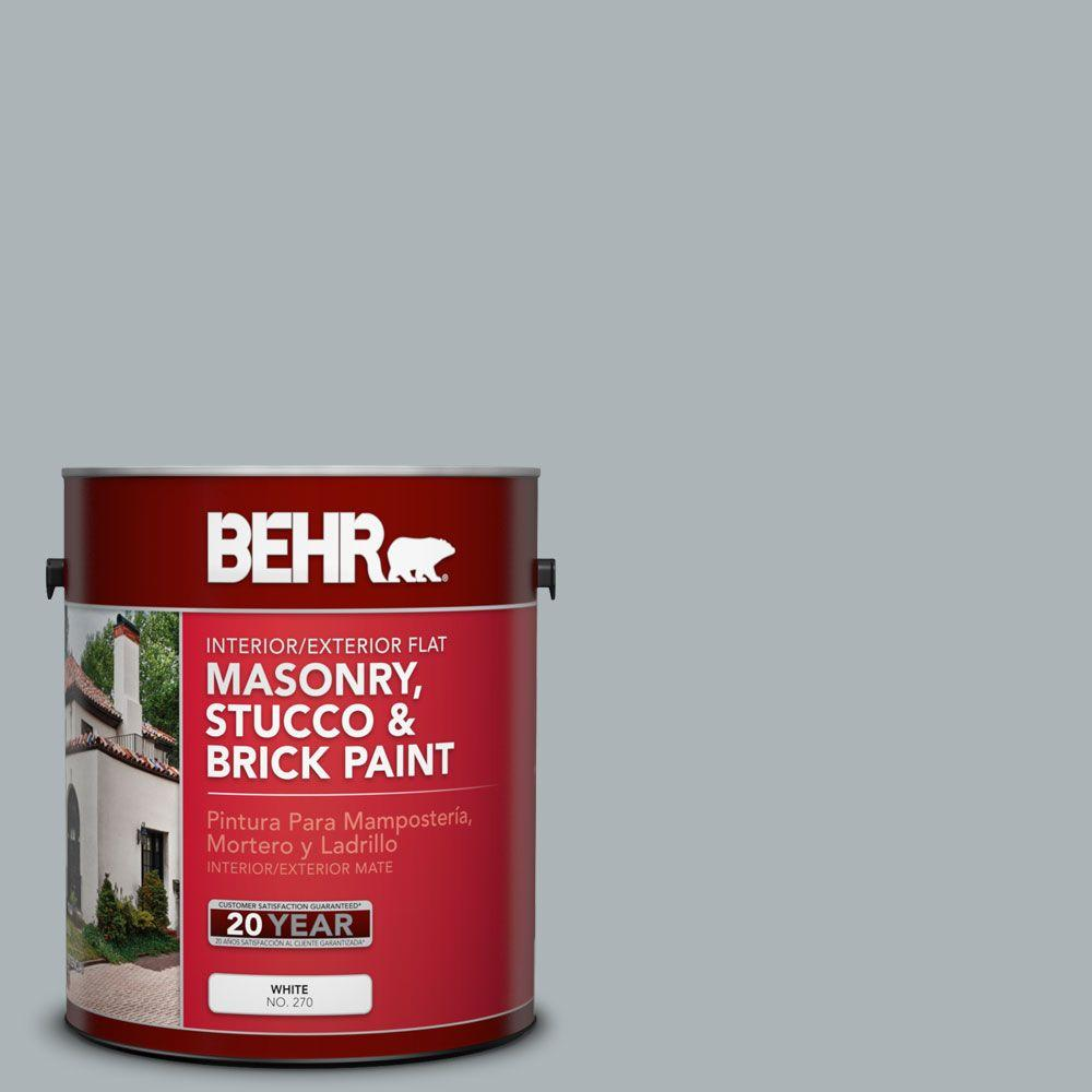 BEHR Premium 1-gal. #MS-67 Quay Blue Flat Interior/Exterior Masonry, Stucco and Brick Paint