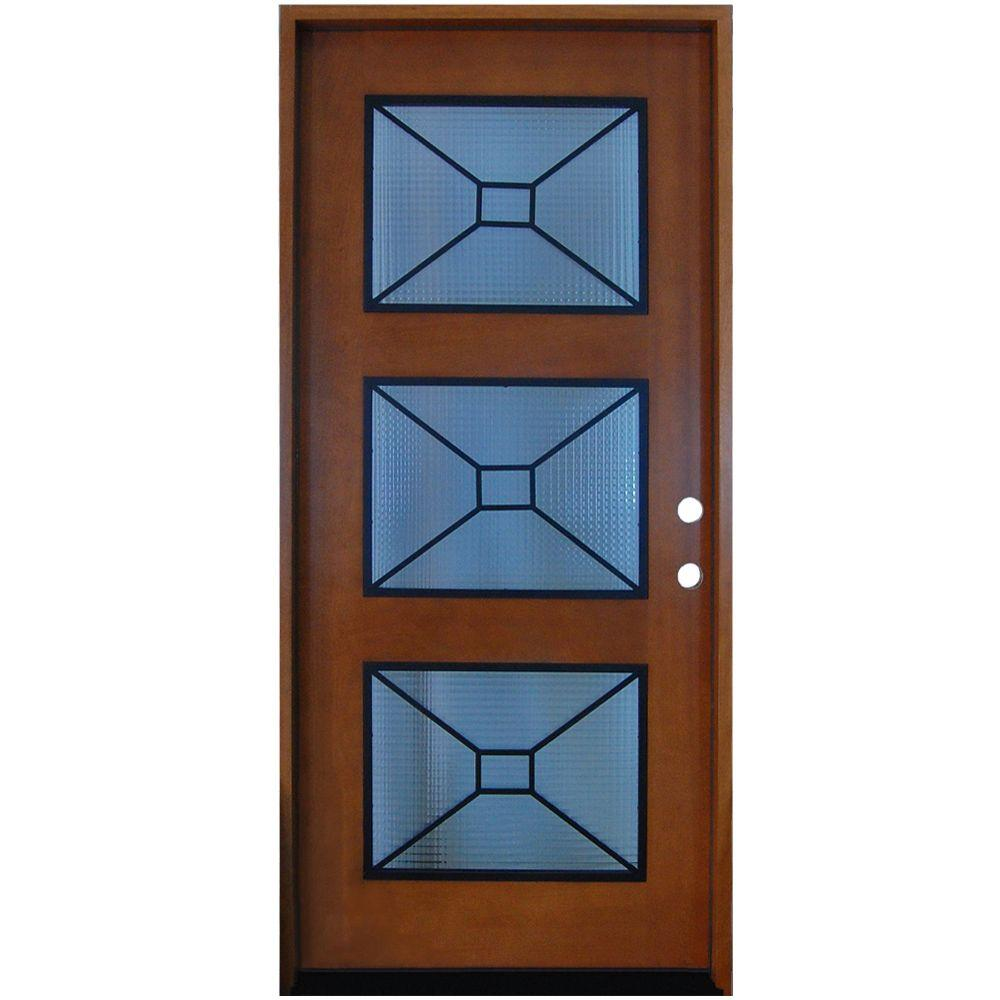 Steves & Sons 36 in. x 80 in. Modern Iron Grille 3 Lite Stained Mahogany Wood Prehung Front Door