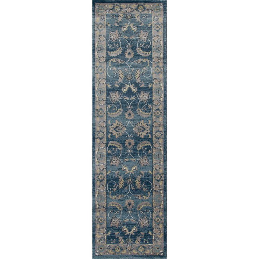 Arabella Scrollwork Blue 2 ft. x 8 ft. Runner Rug
