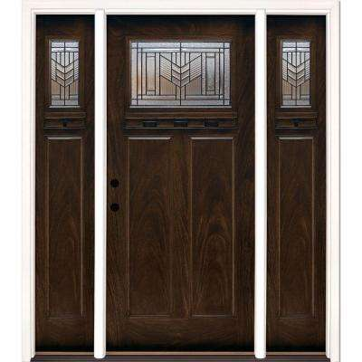 63.5 in.x81.625in.Phoenix Patina Craftsman Stained Chestnut Mahogany Right-Hd Fiberglass Prehung Front Door w/ Sidelites