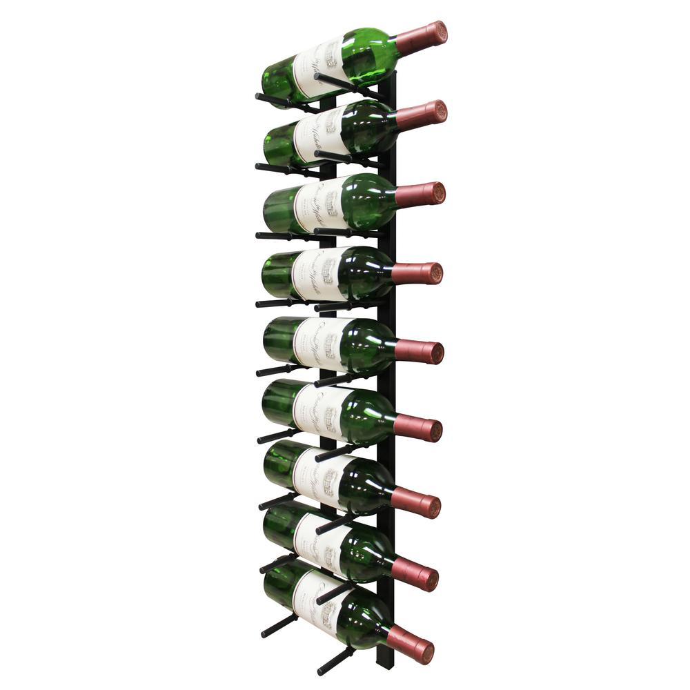 Epicureanist 9 Bottle Black Black Metal Modern Peg Wine Rack Ep Pegwall9b The Home Depot