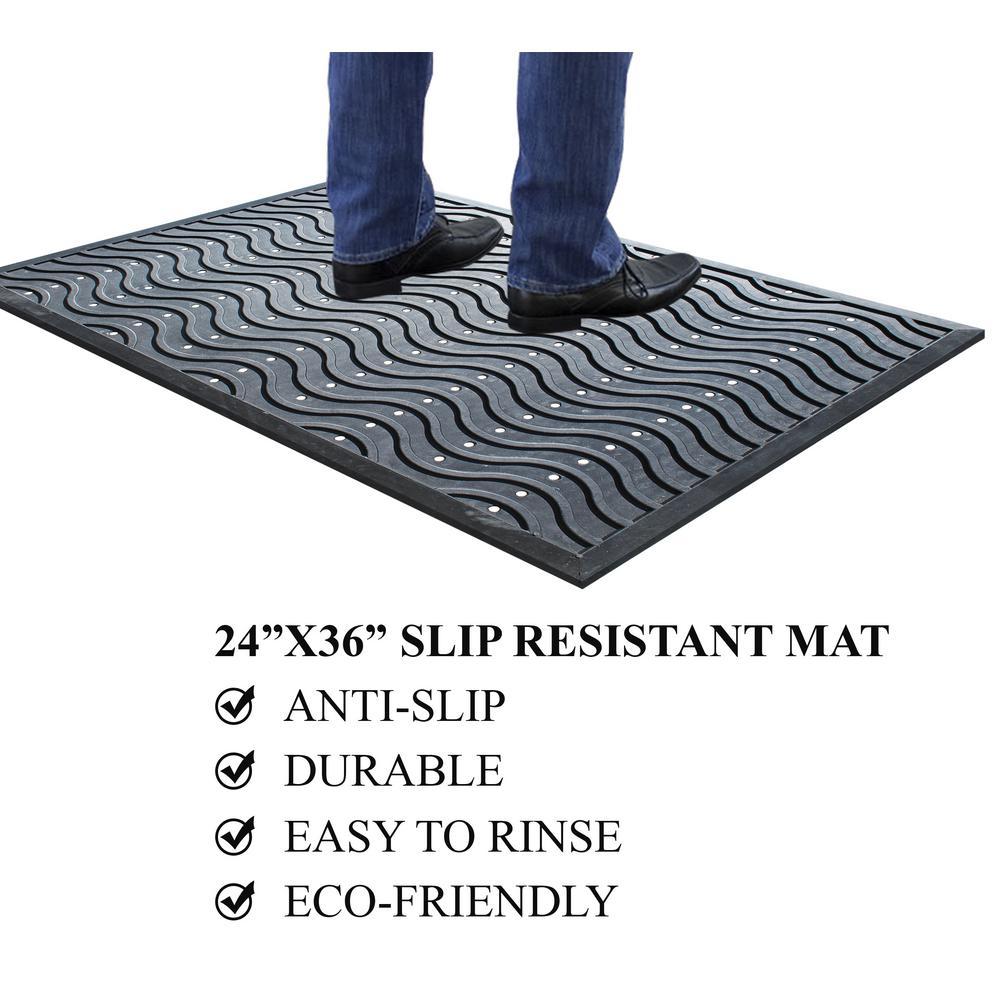 A1HC First Impression Wavy 100% 24 in. x 36 in. Rubber Clean Step Scraper Door Mat