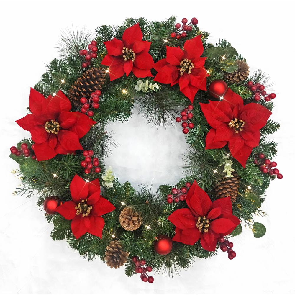 Home Accents Holiday Home Accents Holiday 32 in. Pre-Lit LED Berry Bliss Artificial Christmas Wreath