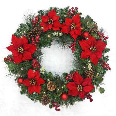 Non Christmas Winter Wreaths.32 In Pre Lit Led Berry Bliss Artificial Christmas Wreath