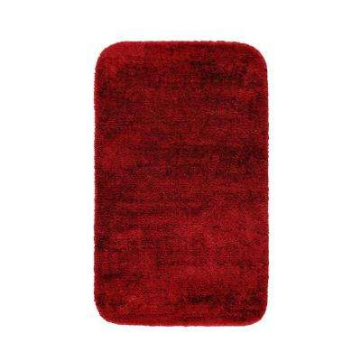 Traditional Chili Pepper Red 30 in. x 50 in. Washable Bathroom Accent Rug