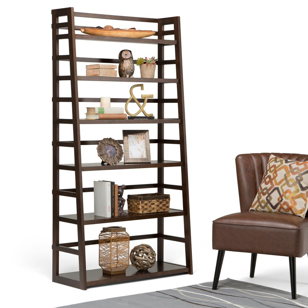 Simpli Home Acadian Brown Ladder Bookcase