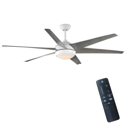 Windward 68 in. Color Changing Integrated LED Indoor/Outdoor Matte White Ceiling Fan with Light and Remote Control