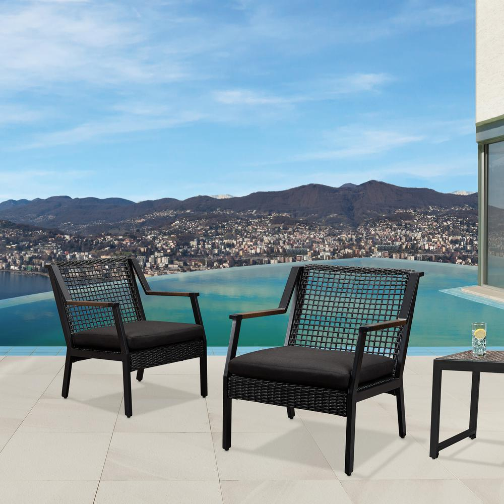 Real Flame Calvin Black Powder Coated Aluminum Outdoor Patio Lounge Chair  With Black Cushions (2