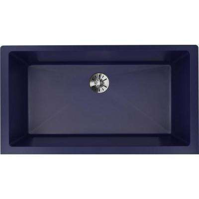 Quartz Luxe Undermount 36 in. Single Bowl Kitchen Sink in Jubilee with Perfect Drain