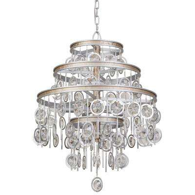 Charmed 9-Light Silver with Champagne Mist Chandelier with Clear Crystal Beads