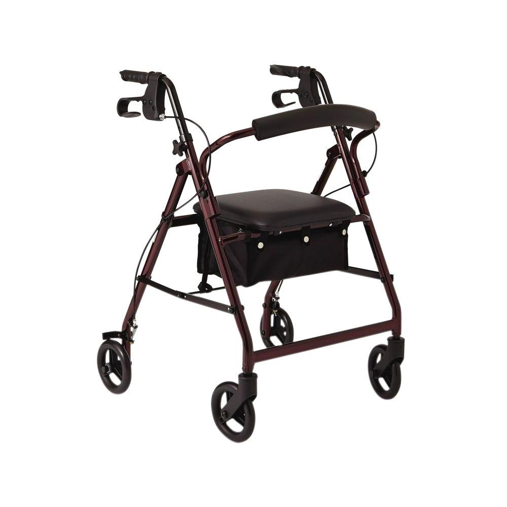 Aluminum Lightweight Folding 4-Wheel Rollator in Burgundy