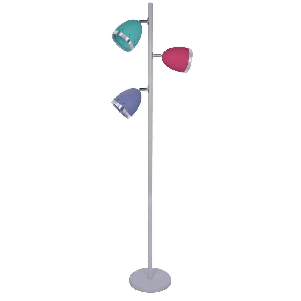 null 64.5 in. 3-Light Gloss Oyster Floor Lamp with Iris, Red, and Seaside shades