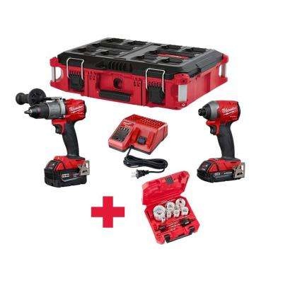 M18 FUEL 18-Volt Lithium-Ion Brushless Cordless Hammer Drill/Impact Driver Combo Kit (2-Tool) W/ Holesaw Set & PACKOUT
