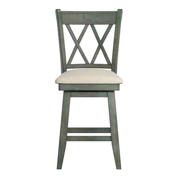 HomeSullivan 24 in. H Antique Sage Double X Back Swivel Chair