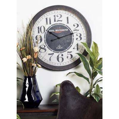 Black and White Hotel Westminster Round Vintage Wall Clock