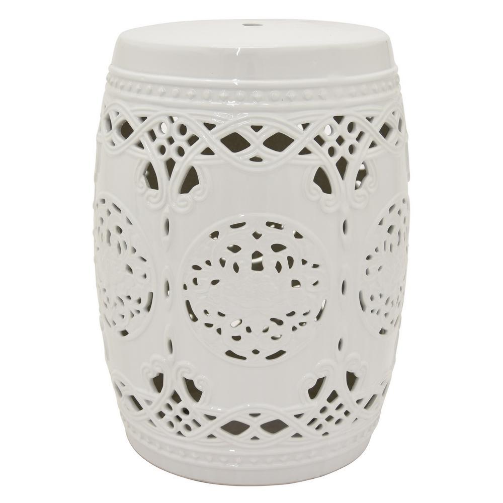 18.5 in. White Ceramic Garden Stool