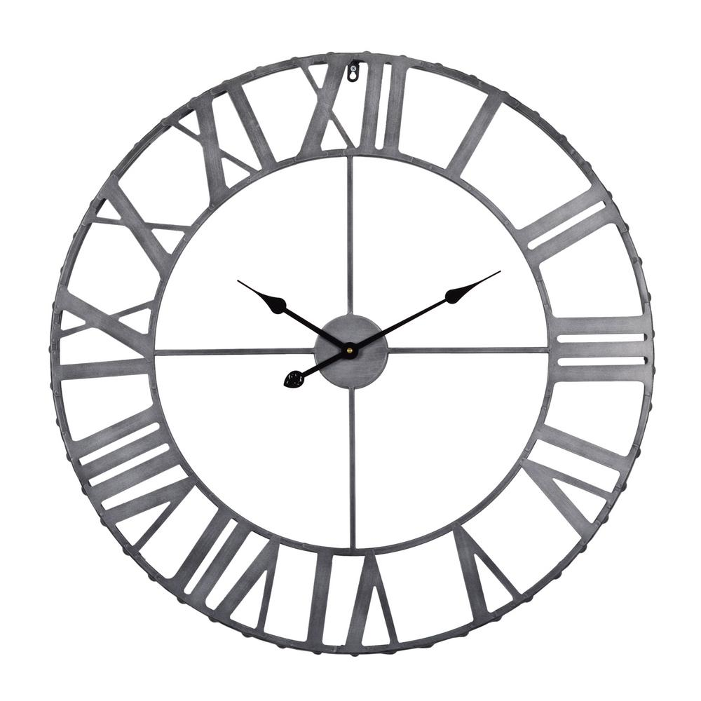 Utopia alley utopia alley rivet edge roman industrial wall clock pewter 32 in